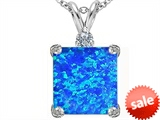 Original Star K™ Large 12mm Square Cut Created Blue Opal Pendant