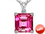 Original Star K™ Large 12mm Square Cut Created Pink Sapphire Pendant