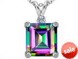 Original Star K™ Large 12mm Square Cut Rainbow Mystic Topaz Pendant