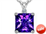 Original Star K™ Large 12mm Square Cut Simulated Amethyst Pendant style: 306117