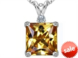 Original Star K™ Large 12mm Square Cut Simulated Imperial Yellow Topaz Pendant style: 306124