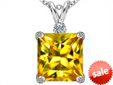 Original Star K™ Large 12mm Square Cut Simulated Citrine Pendant style: 306125