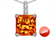 Original Star K™ Large 12mm Square Cut Simulated Mexican Orange Fire Opal Pendant style: 306126