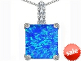 Original Star K™ Large 12mm Square Cut Created Blue Opal Pendant style: 306127