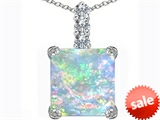 Original Star K™ Large 12mm Square Cut Created Opal Pendant