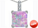 Original Star K™ Large 12mm Square Cut Created Pink Opal Pendant style: 306129