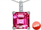 Original Star K™ Large 12mm Square Cut Created Pink Sapphire Pendant style: 306130