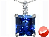 Original Star K™ Large 12mm Square Cut Created Sapphire Pendant style: 306132