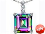 Original Star K™ Large 12mm Square Cut Rainbow Mystic Topaz Pendant style: 306133