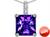 Original Star K™ Large 12mm Square Cut Simulated Amethyst Pendant