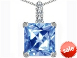Original Star K™ Large 12mm Square Cut Simulated Aquamarine Pendant style: 306135