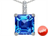 Original Star K™ Large 12mm Square Cut Simulated Blue Topaz Pendant style: 306136