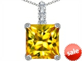 Original Star K™ Large 12mm Square Cut Simulated Citrine Pendant style: 306137