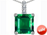 Original Star K™ Large 12mm Square Cut Simulated Emerald Pendant style: 306138