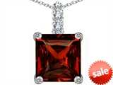Original Star K™ Large 12mm Square Cut Simulated Garnet Pendant style: 306139