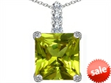 Original Star K™ Large 12mm Square Cut Simulated Peridot Pendant style: 306140