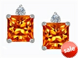 Original Star K™ 7mm Square Cut Simulated Mexican Orange Fire Opal Earring Studs