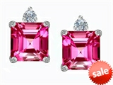 Original Star K™ 7mm Square Cut Created Pink Sapphire Earring Studs