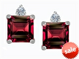 Original Star K™ 7mm Square Cut Created Ruby Earring Studs