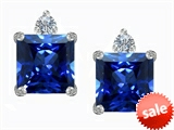 Original Star K™ 7mm Square Cut Created Sapphire Earring Studs