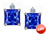 Original Star K™ 7mm Square Cut Simulated Tanzanite Earrings Studs style: 306149