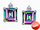 Original Star K™ 7mm Square Cut Rainbow Mystic Topaz Earring Studs