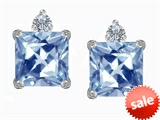 Original Star K™ 7mm Square Cut Simulated Aquamarine Earring Studs