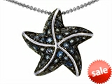 Original Star K™ Starfish Pendant With Round Simulated Blue Topaz