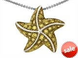 Original Star K™ Starfish Pendant With Round Simulated Citrine style: 306157