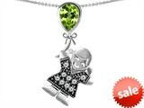 Original Star K™ Little Girl Holding a Balloon Mother Birthstone 9x7mm Pear Shape Genuine Peridot Pendant