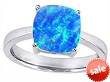 Original Star K™ 8mm Cushion Cut Solitaire Engagement Ring with Created Blue Opal style: 306163