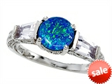 Original Star K™ Round 7mm Created Blue Opal Engagement Ring