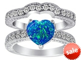 Original Star K™ 8mm Heart Shape Simulated Blue Opal Wedding Set style: 306165