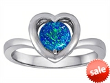 Original Star K™ Heart Engagement Promise of Love Ring with 7mm Round Created Blue Opal