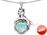 Original Star K™ Cat Lover Pendant with October Birthstone Created Opal