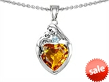 Original Star K™ Loving Mother With Child Family Pendant With 8mm Heart Shape Simulated Citrine style: 306171