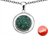 Original Star K™ Round Puffed Pendant with Simulated Emerald