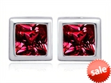 Original Star K™ 8mm Square Cut Created Ruby Earring Studs