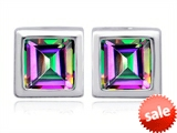 Original Star K™ 8mm Square Cut Mystic Rainbow Topaz Earring Studs