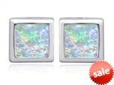 Original Star K™ 8mm Square Cut Created Opal Earrings Studs style: 306180