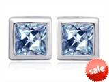 Original Star K™ 8mm Square Cut Simulated Aquamarine Earring Studs