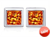 Original Star K™ 8mm Square Cut Simulated Mexican Orange Fire Opal Earrings Studs style: 306183