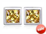 Original Star K™ 8mm Square Cut Simulated Imperial Yellow Topaz Earring Studs