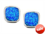 Original Star K™ 8mm Cushion Cut Created Blue Opal Earring Studs