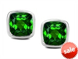 Original Star K™ 8mm Cushion Cut Simulated Emerald Earrings Studs style: 306188