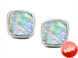Original Star K™ 8mm Cushion Cut Created Opal Earring Studs