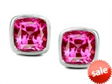 Original Star K™ 8mm Cushion Cut Created Pink Sapphire Earring Studs