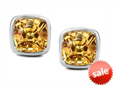 Original Star K™ 8mm Cushion Cut Simulated Imperial Yellow Topaz Earrings Studs style: 306197