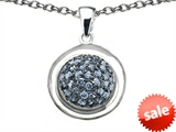 Original Star K™ Round Puffed Pendant with Simulated Aquamarine style: 306198