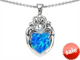 Original Star K™ Loving Mother And Family Pendant With Heart Shape 8mm Simulated Blue Opal style: 306199